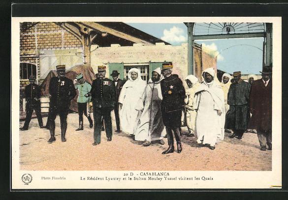 AK Casablanca, Le Resident Lyautey et le Sultan Moulay Yussef visitent les Quais