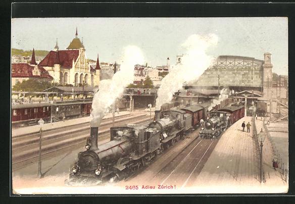 AK Zürich, Abfahrt der Eisenbahn aus dem Bahnhof