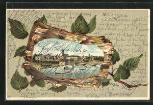 Passepartout-Lithographie Metz, Dampfer an der Mittelbrücke