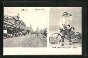 AK Pretoria, Blick in die Kirchstrasse, Komdt. Jooste mit Fahrrad