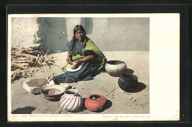 AK Moki Indian Woman making Pottery