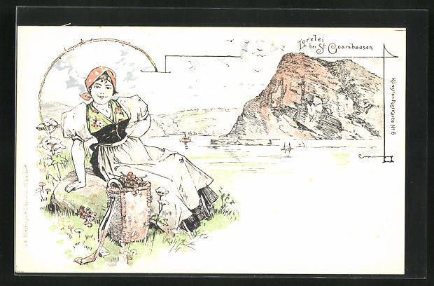 AK Loreleyfelsen bei St. Goarshausen, junge Frau mit Blumenkorb auf der Wiese