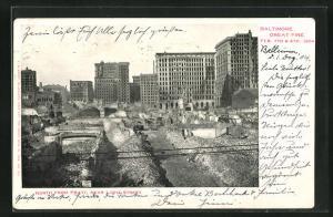 AK Baltimore, MD, Zerstörte Gebäude nach dem grossen Brand von 1904