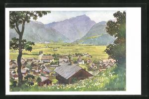 Künstler-AK Edo v. Handel-Mazzetti: St. Johann in Tirol, Panorama