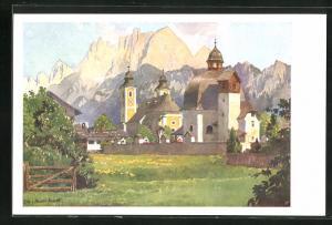 Künstler-AK Edo v. Handel-Mazzetti: St. Johann in Tirol, Antoniuskapelle und Pfarrkirche gegen den Wilden Kaiser