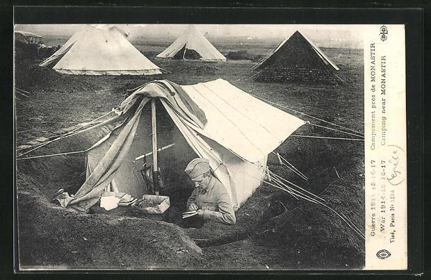 AK Monastier, französischer Soldat im Zeltlager einen Brief schreibend