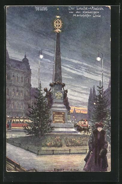 Künstler-AK F. Witt: Wien, Strassenbahn am Leucht-Obelisk