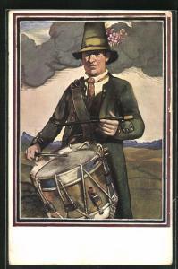 AK Schütze in Uniform mit Trommel