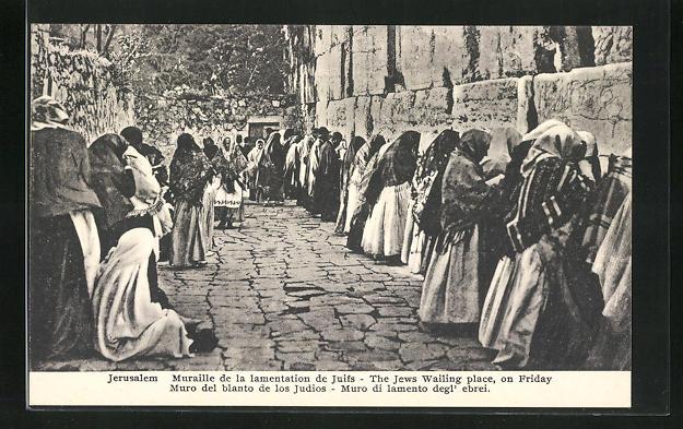 AK Jerusalem, The Jews Wailing place on Friday, Jüdinnen an der Klagemauer