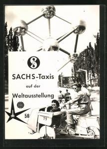 AK Brüssel, Sachs-Taxis auf der Weltausstellung 1958, Motorrad