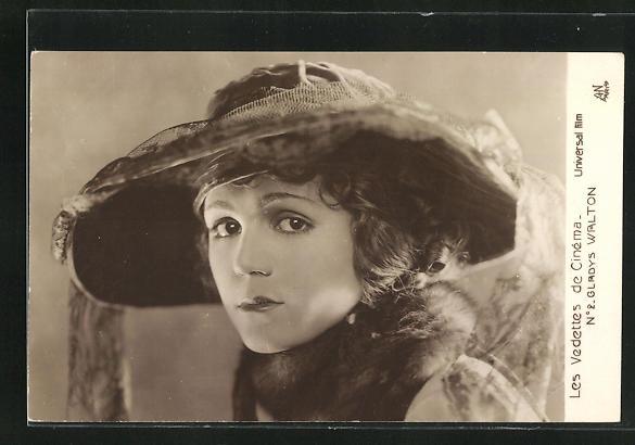 AK Schauspielerin Gladys Walton mit Hut