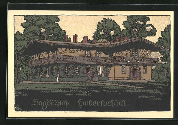 Steindruck-AK Joachimsthal, Jagdschloss Hubertusstock