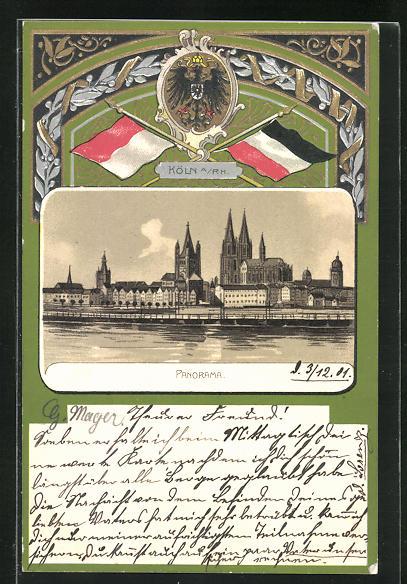 Passepartout-Lithographie Köln a / Rh., Panorama u. Adler mit Flaggen