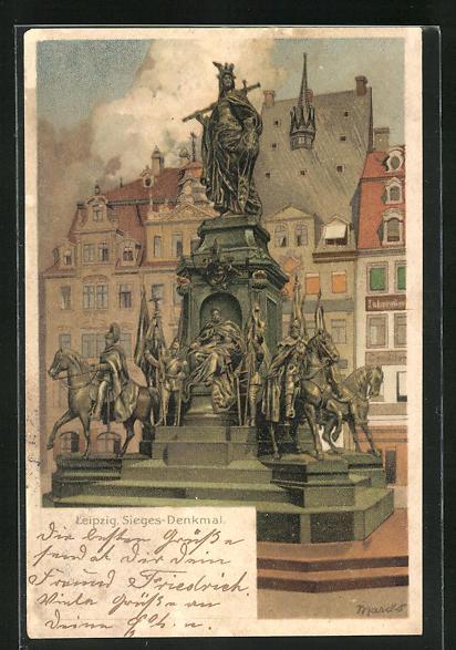 Künstler-AK Alexander Marcks: Leipzig, Sieges-Denkmal