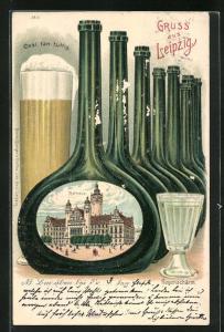 Passepartout-Lithographie Leipzig, Rathaus in einer Gose-Flasche