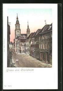 Goldfenster-AK Crailsheim, Strassenpartie mit Gebäudeansicht mit leuchtenden Fenstern