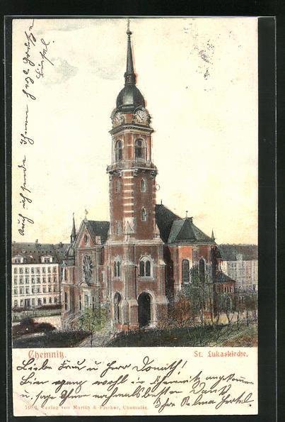 Relief-AK Chemnitz, St. Lukaskirche