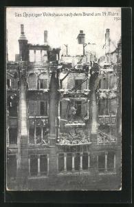 AK Leipzig, Volkshaus nach dem Brand 1920