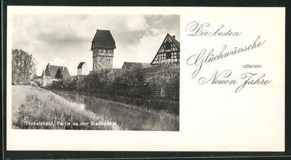 Mini-AK Dinkelsbühl, Partie an der Stadtmauer