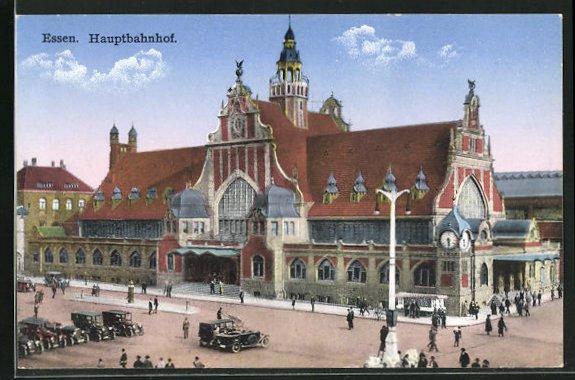 AK Essen, Hauptbahnhof mit Fussgängern und Autos