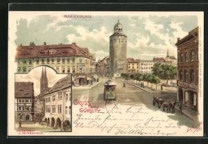 Künstler-AK Erwin Spindler: Görlitz, Marienplatz, Untermarkt mit Peterskirche