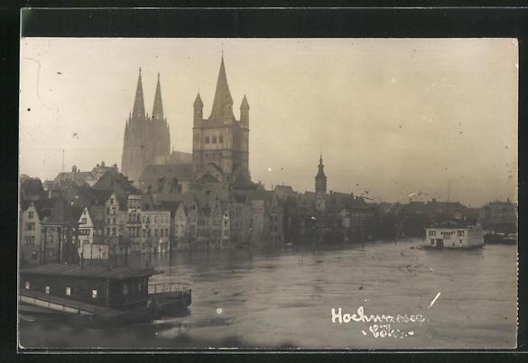 AK Köln, Hochwasser 1920, Ortspartie