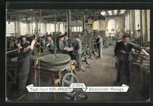 AK Leipzig. Masch. Fabrik Karl-Krause, Dreischneider-Montage, Fabrikarbeiter