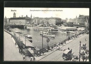 AK Berlin, Dampferstation Jannowitzbrücke und Stadtbahn