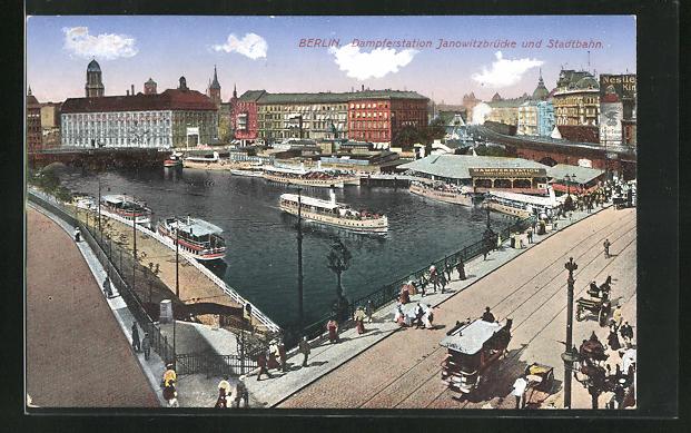 AK Berlin, Dampferstation Jannowitzbrücke und Stadtbahn 0