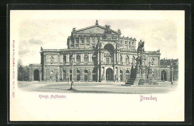 Relief-AK Dresden, Königliches Hoftheater mit Denkmal