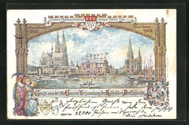 Lithographie Köln, Gruss v. der 50. General-Versammlungder Katholiken Deutschlands, Gesamtansicht