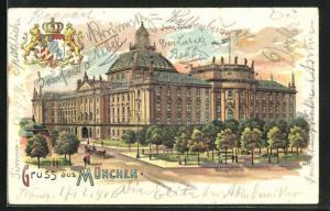 Glitzer-Perl-AK München, Justizpalast mit Anlagen