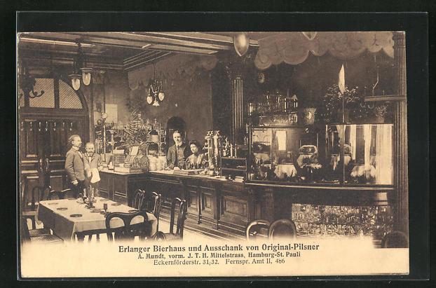 AK Hamburg-St. Pauli, Erlanger Bierhaus und Ausschank von Original Pilsner, Eckernförderstrasse 31-32