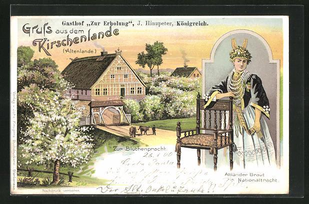 Lithographie Königreich, Gasthof Zur Erholung, Altländer Braut in Nationaltracht