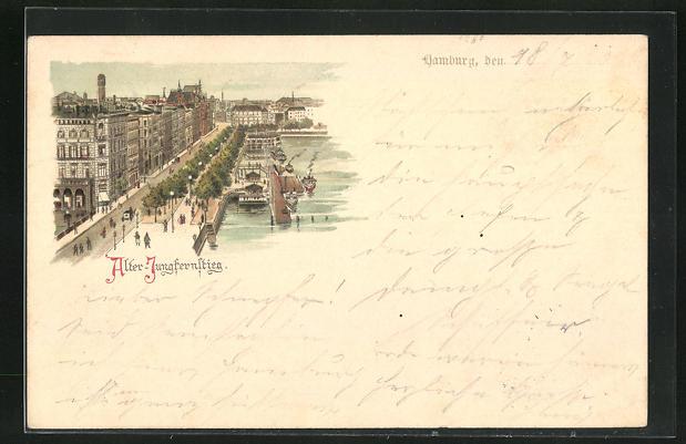 Lithographie Hamburg-Neustadt, Passanten auf dem alten Jungfernstieg