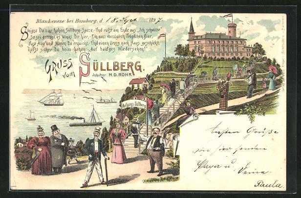 Lithographie Hamburg-Blankenese, Gasthaus auf dem Süllberg von H. D. Rohr