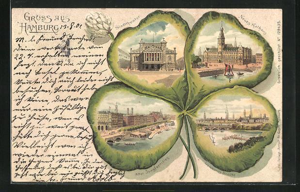 Passepartout-Lithographie Hamburg, Stadttheater, Lombards Brücke, Rathaus, Ansichten auf Kleeblatt