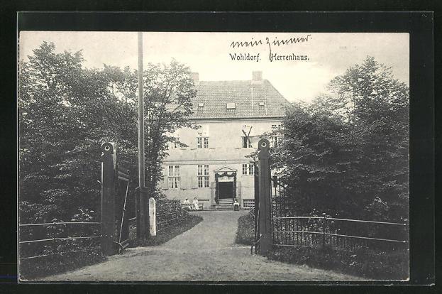 AK Hamburg-Wohldorf, Eingang zum Herrenhaus