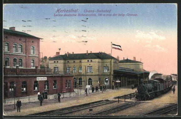 AK Herbesthal, Zug im Grenz-Bahnhof