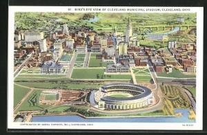 AK Cleveland, OH, Birs's-Eye view of Municipal Stadium