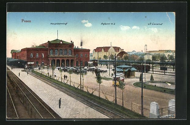 AK Posen / Poznan, Hauptbahnhof