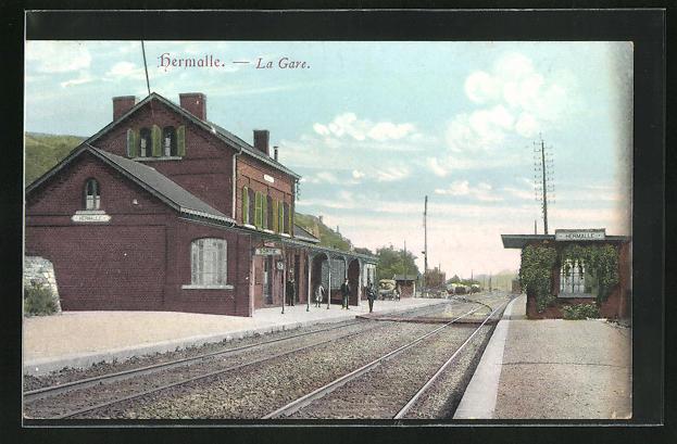 AK Hermalle, La Gare, Bahnhof