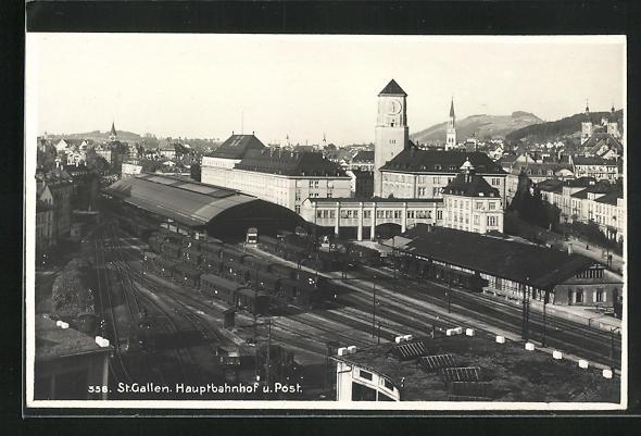 AK St. Gallen, Hauptbahnhof u. Post