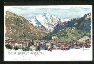 Künstler-AK C. Steinmann: Interlaken, Gesamtansicht mit Jungfrau