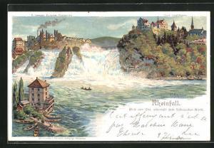 Künstler-AK C. Steinmann: Laufen, Rehienfall, Blick vom Ufer, unterhalb dem Schlösschen Wörth