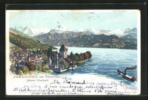 Künstler-AK C. Steinmann: Oberhofen am Thunersee, Teilansicht