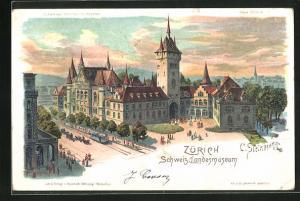 Künstler-AK C. Steinmann: Zürich, Schweizerisches Landesmuseum im Abendrot