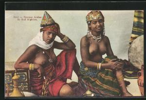 AK Femmes Arabes du Sud Algérien, arabische Frauen mit entblössten Brüsten
