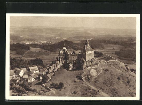 AK Hersbruck / Mfr., Burg Hohenstein, Reichswinterhilfe-Lotterie 1934/35, Ganzsache 6 Pf.
