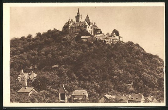 AK Wernigerode / Harz, Blick zum Schloss Wernigerode, Ganzsache WHW Winterhilfswerk